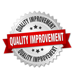 quality improvement round isolated silver badge vector image vector image