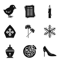 catholic icons set simple style vector image