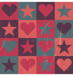 hearts and stars seamless pattern pink vector image vector image