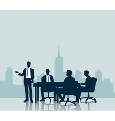 Silhouette business meeting with city background vector
