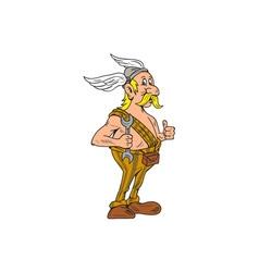 Viking Repairman Spanner Thumbs Up Cartoon vector image vector image