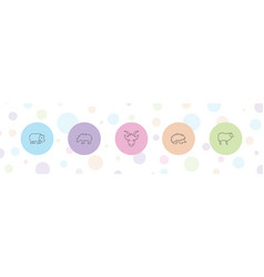 5 mammal icons vector