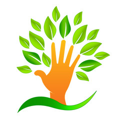 Abstract tree hand icon creating environmental vector