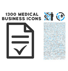 Agreement document icon with 1300 medical business vector