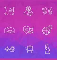 airport icons line style set with multicities vector image