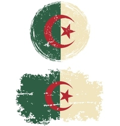 Algerian round and square grunge flags vector