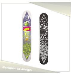 alien snowboard design vector image