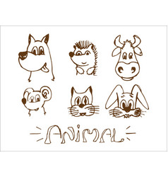 animals drawn by hand wild and domestic vector image