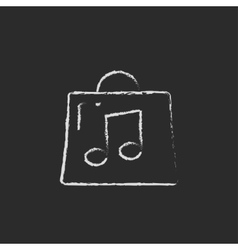 Bag with music note icon drawn in chalk vector image