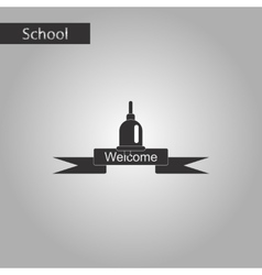 Black and white style icon of school bell vector