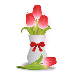 bouquet red tulips in white ceramic vase vector image