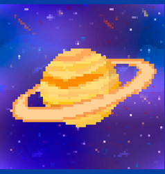 Bright saturn cute planet in pixel art style vector