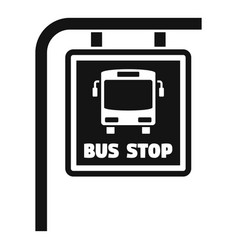 bus stop sign icon simple style vector image