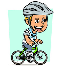 Cartoon blonde boy character riding on bicycle vector