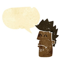 cartoon man feeling sick with speech bubble vector image