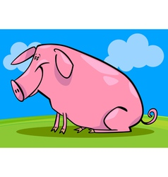 cartoon of farm pig vector image