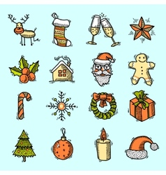 Christmas icons set color vector image vector image