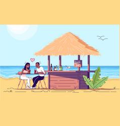 Couple at beach bar flat doodle man and woman vector