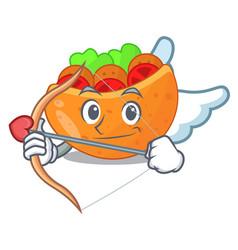 Cupid falafel in pita in bread cartoon vector