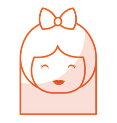 cute little japanese doll head vector image