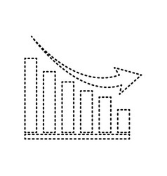 Declining graph sign black dashed icon on vector