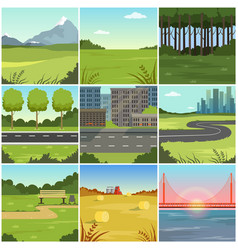 Different natural summer landscapes set scenes of vector