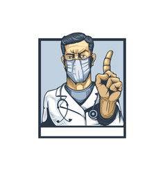doctor with finger gesture showing attention vector image