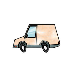 Drawing van car delivery transport vehicle design vector