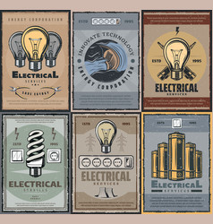 energy production lamps and electrical services vector image
