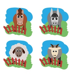 Farm animals Horse sheep goat a donkey on the vector