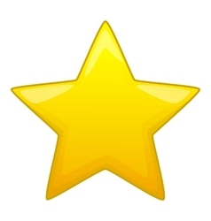 Five pointed yellow star icon cartoon style vector