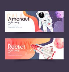 Galaxy banner design with astronaut rocket planet vector