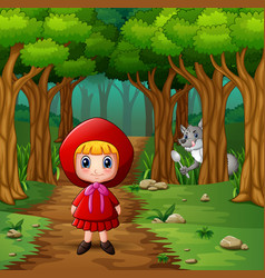 Girl hooded red and wolves at forest vector