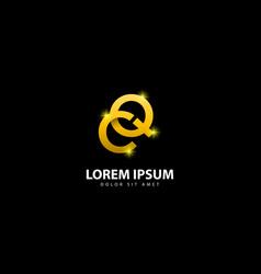 Gold letter q logo qc letter design with golden vector