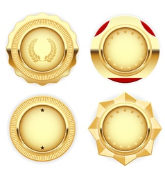 Golden medal and emblem insignia vector image vector image