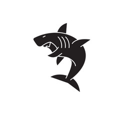 great white shark black concept icon great vector image