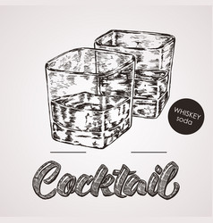 Hand drawn sketch cocktail with text vector