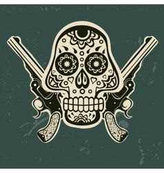 Hand drawn skull with guns vector