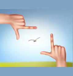 Hands make frame vector
