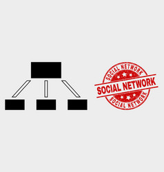 hierarchy icon and grunge social network vector image