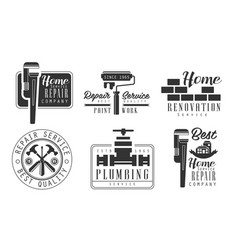 Home service repair company retro labels set home vector