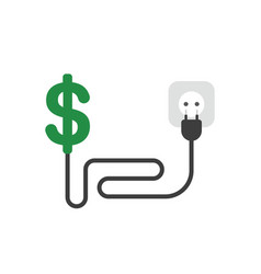 icon concept of dollar symbol with cable plug and vector image