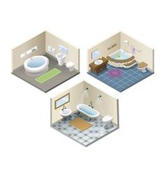 Isometric set of bathroom furniture ico vector