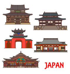 Japan travel architecture osaka nagasaki fukuoka vector