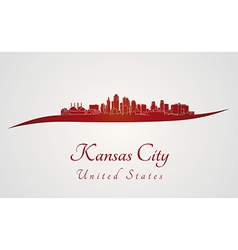 Kansas City skyline in red vector