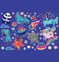 Let is play with cosmic guys dino and unicorns vector