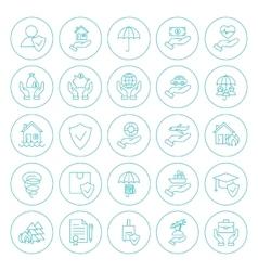Line Circle Insurance Icons Set vector