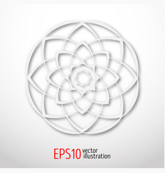 Magic white lotus in circle 3d sacral geometry vector