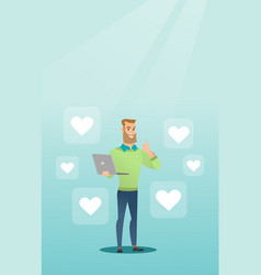 Man with laptop and heart icons vector