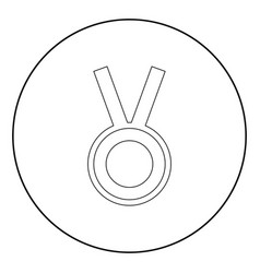 medal the black color icon in circle or round vector image